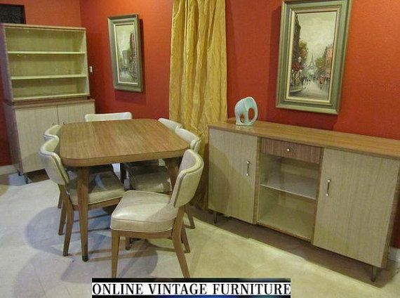 Walter Of Wabash Howell Dining Room Set Vintage Mid Century Modern Table Chairs China Cabinet Buffet Bookcase Formica