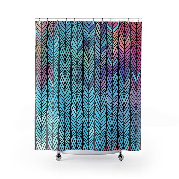 Boho Shower Curtain Feathered Decor Home Psychedelic T