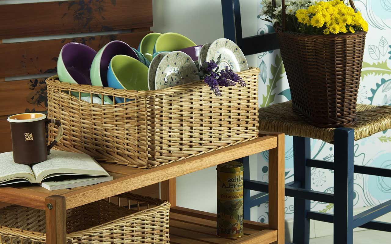 Os cestos de fibra, além de lindos, são ótimos para organizar e cabem em qualquer cantinho.