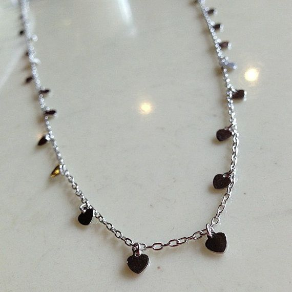 Dangling Hearts Long Chain Necklace on Etsy, $32.00