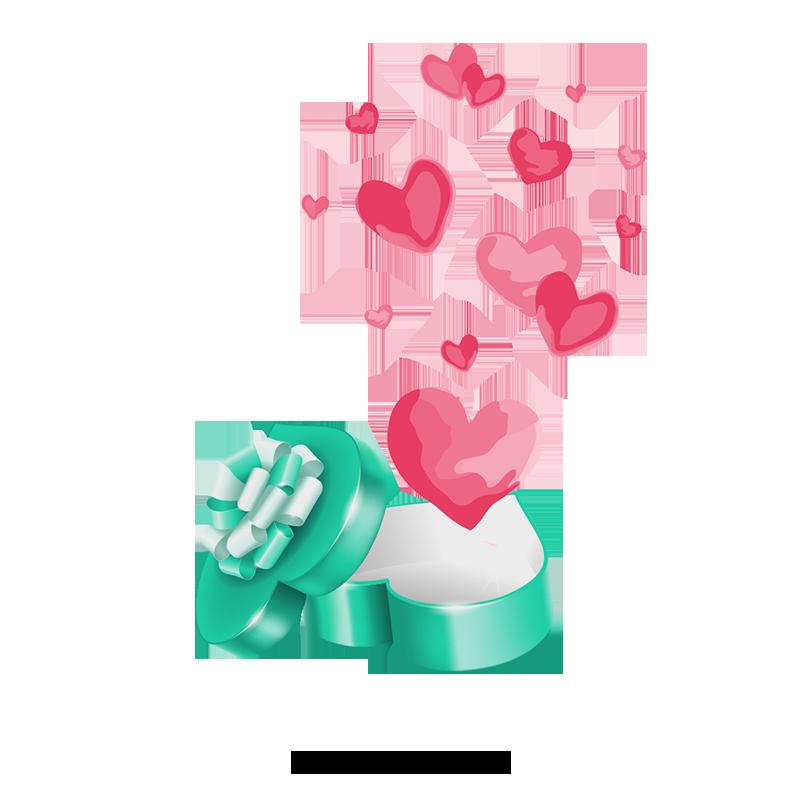 Vector Open Courtesy, Heart, 打开的绿色礼品盒, Surprise Gift PNG