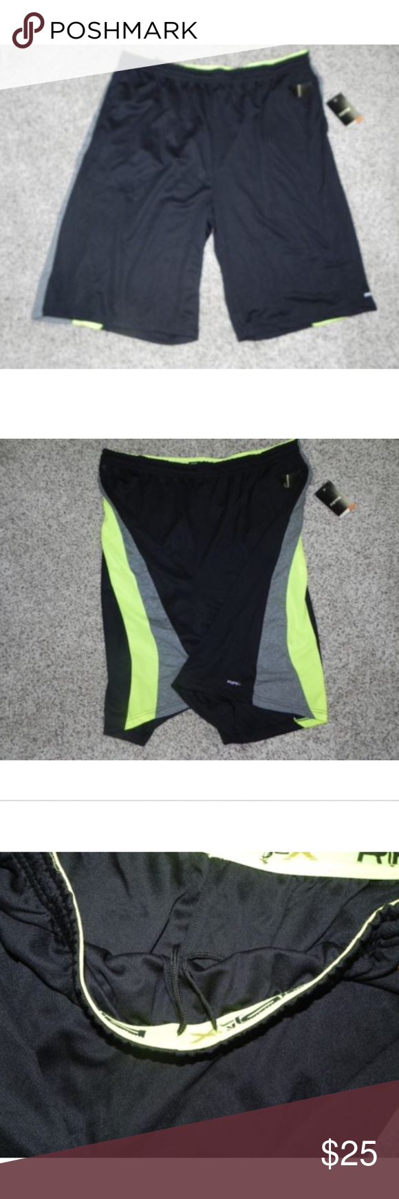 RPX Athletic Shorts Big /& Tall 4X Dri-Tech Basketball Mens Black Grey Lime NWT