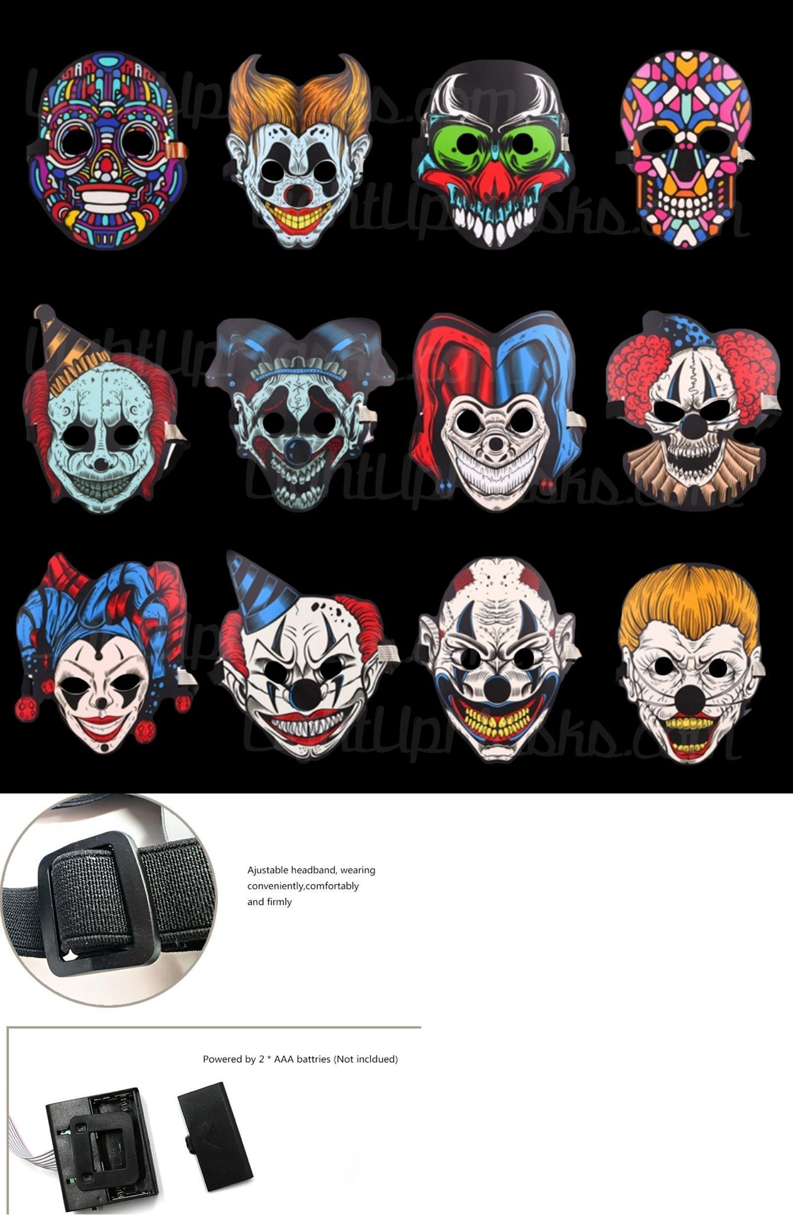 Halloween Sound Reactive Half Face LED Light Up Mask Dance Rave EDM Plur Party 9