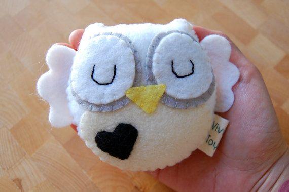 Black and White Eco Friendly Plush Owl by vivikas on Etsy, $15.00