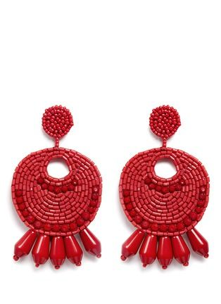 Kenneth Jay Lane Large Red Seed Bead Round Gypsy Hoop With Drops Clip Earring Red 8b8Gs2ZGV