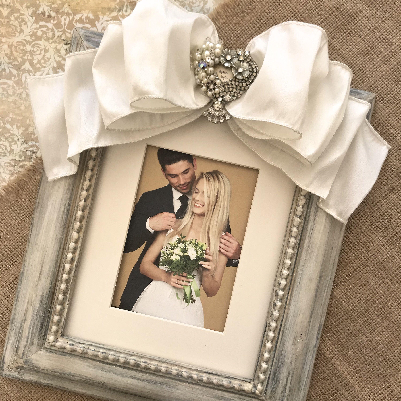 8x10 Vintage Jeweled Photo Frame Bow Crystal Pearls Wedding Etsy Wedding Frames Handmade Photo Frames Bride Shower