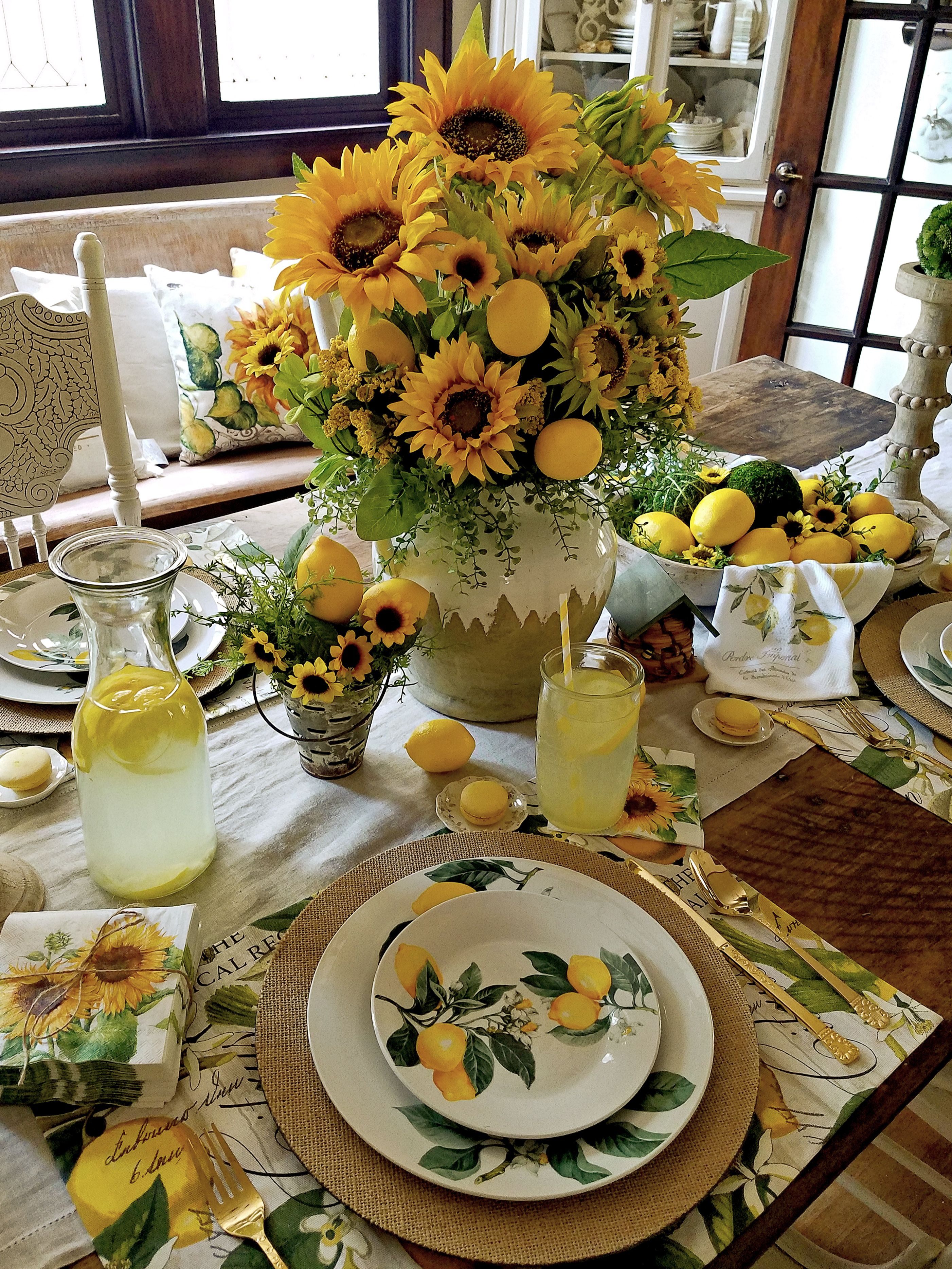 French Farmhouse Lemons And Sunflowers Tablescape Follow The Yellow Brick Home Lemon Kitchen Decor Kitchen Table Settings Sunflower Kitchen Decor
