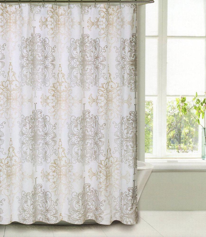 Tahari Home Milan Scroll Fabric Shower Curtain Tan Taupe On