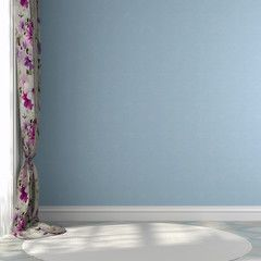 Blue wall with colored curtains