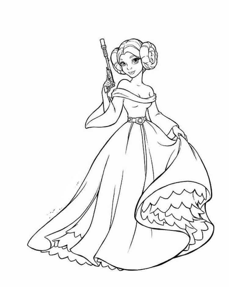 Star Wars Coloring Pages Leia Star Wars Colors Star Wars Cartoon Princess Coloring Pages