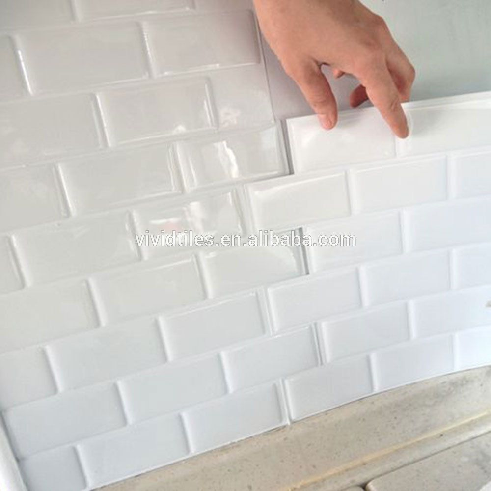 China Dosseret Tuile Autocollant Mur En Vinyl Clic White Subway Tile With Gray Grout Bathroom Backsplash Kitchen