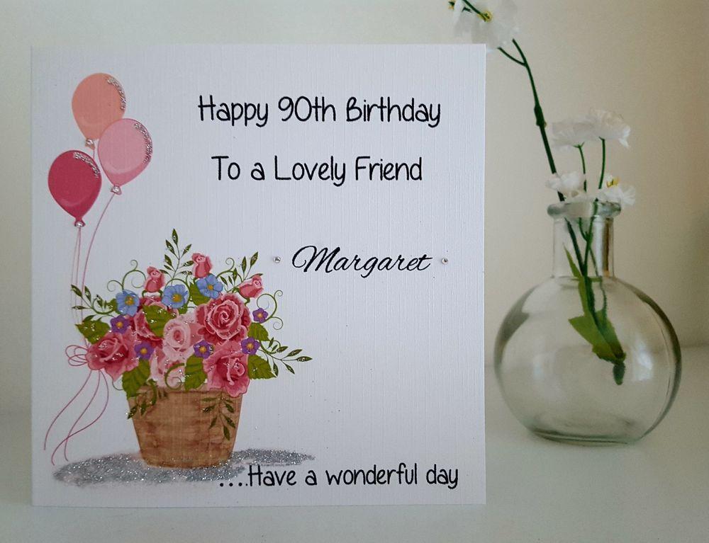 Personalised Handmade 80th Birthday Card 50th 60th 70th 90th Mum Aunt Nan
