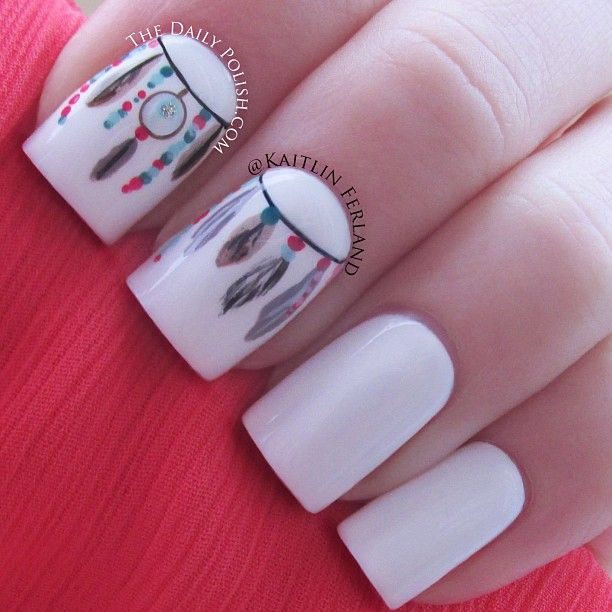 Nail Nails Nailart Belleza Pinterest Atrapasueños Pluma Y