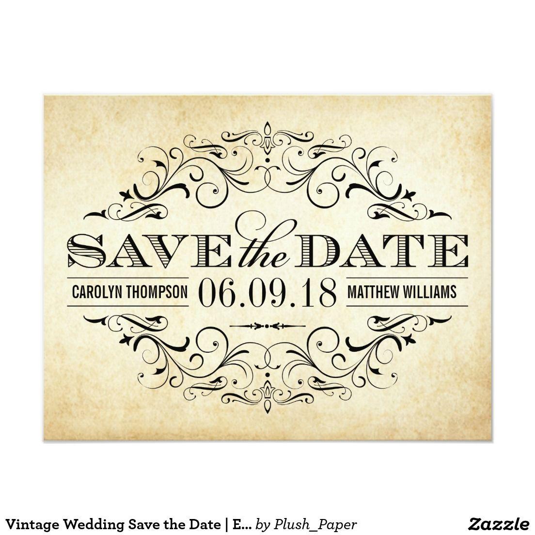Vintage Wedding Save the Date | Elegant Flourish | Vintage Wedding ...