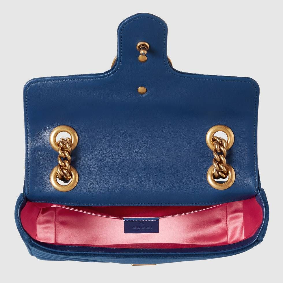 Shop the GG Marmont velvet mini bag by Gucci. The mini GG Marmont chain  shoulder 6f6f1727fcb5