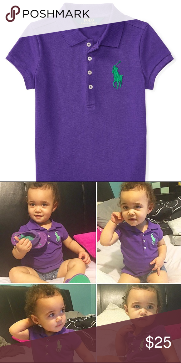 Ralph Lauren polo shirt 2T New Ralph Lauren polo shirt 2T New and as you can see I tried it on my daughter and it was too small, but I wanted to have her model it and show how it perfectly matches the sandals I'm selling as well! This shirt was originally $40 Ralph Lauren Shirts & Tops Polos