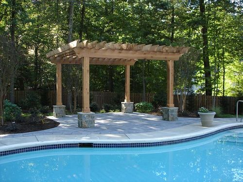 Best 25 swimming pool landscaping ideas on pinterest for Backyard landscaping with pool