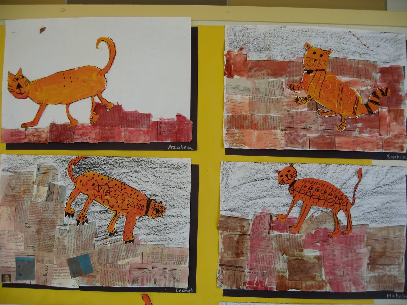 "painted cat climb on ""brick walls"" made of collaged and painted book pages: I am doing this one for sure with the little ones!"
