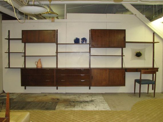Mid Century Modern danish wall unit attributed to Poul by GreStuff, $2475.00