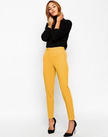 pantalon taille haute moutarde asos clickndress look mode couleur jaune femme. Black Bedroom Furniture Sets. Home Design Ideas