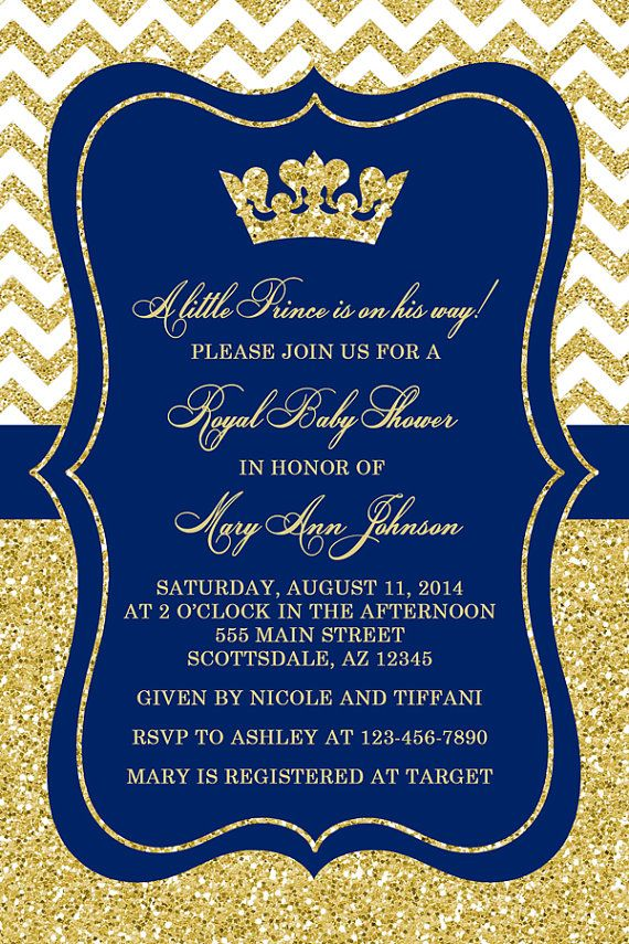 Prince Baby Shower Invitation, Little Boy Prince, Crown, Royal Blue ...