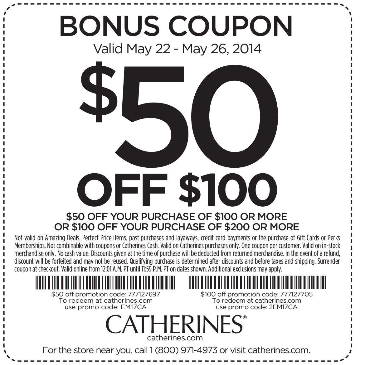 Pinned May 25th 50 Off 100 More At Catherines Or Online Via Promo Code Em17ca Coupon Via The Coupons App Coupons Coupon Apps App