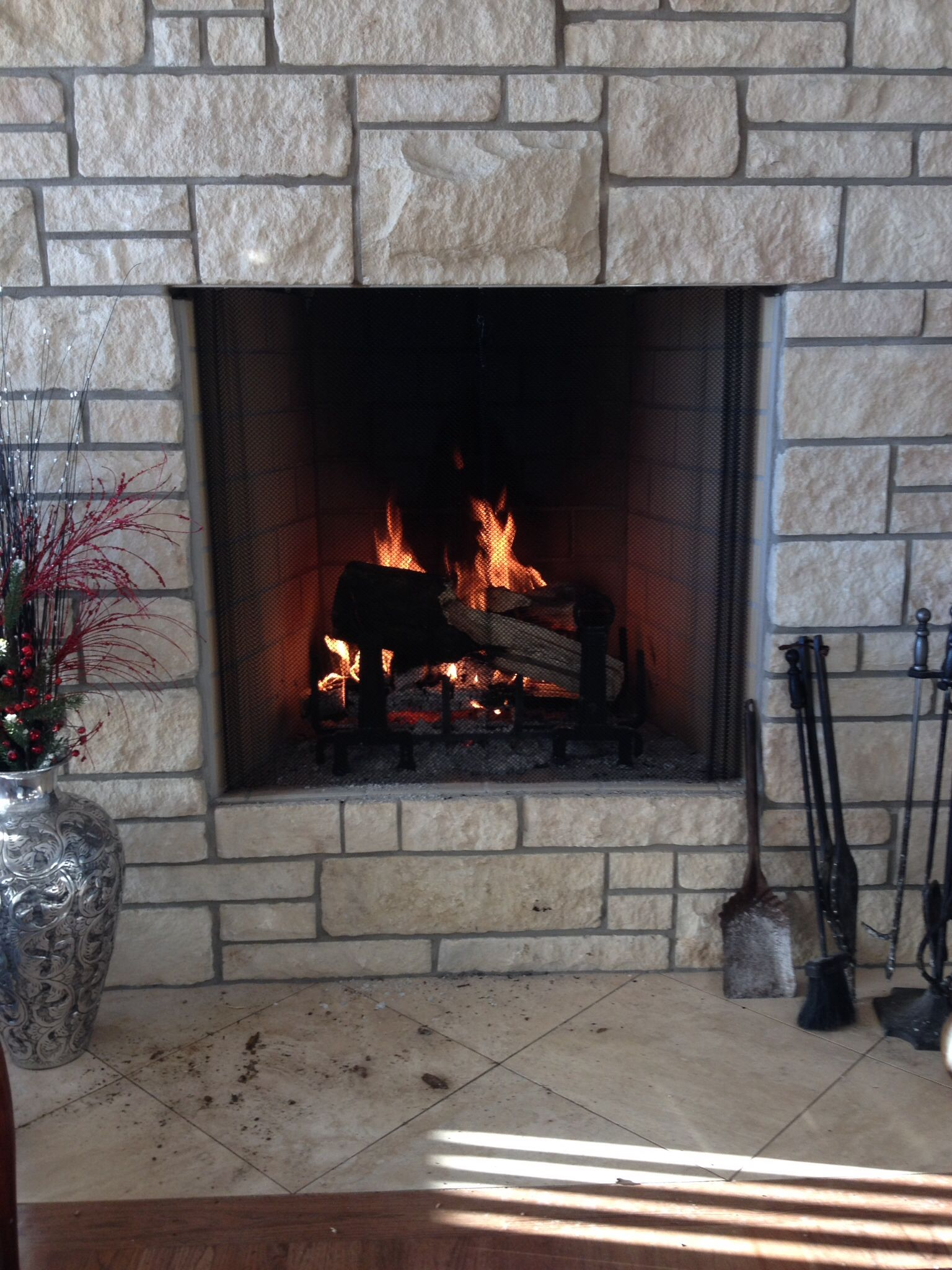 Heat N Glo Rutherford 42 With Real Limestone Modern Milford