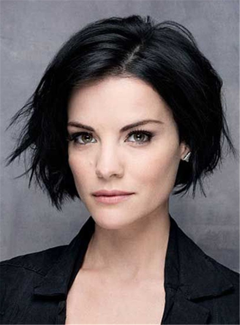 Short Straight Lob Side Swept Fringes Hairstyle Lace Front Black Human Hair Wigs 10 Inches Thick Hair Styles Hair Styles Short Wavy Hairstyles For Women