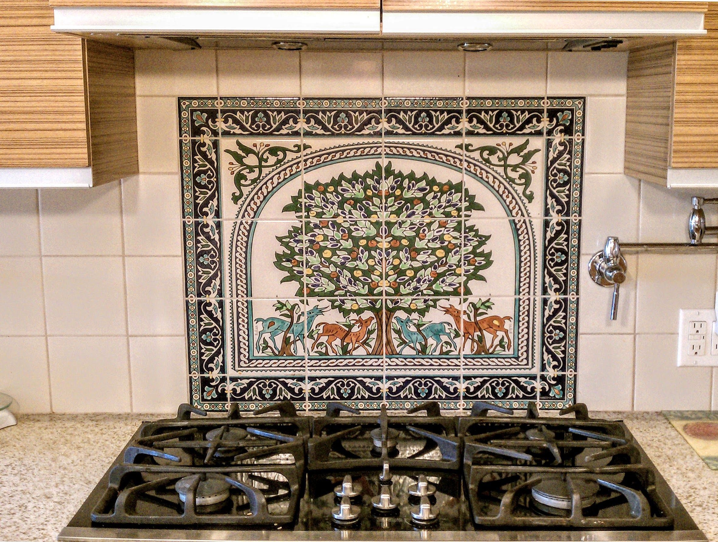 Tree of life kitchen tile backsplash mural