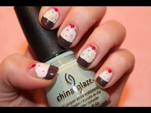 Tutorial Cute Cupcake Nails Makeup Pinterest Cupcake Nail Art