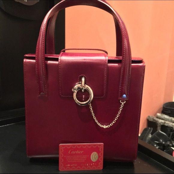 Vintage Cartier Panthere Patent Handbag Burgundy Measurements 8 5 X 3 Model L1000534 Eb Bags Satchels