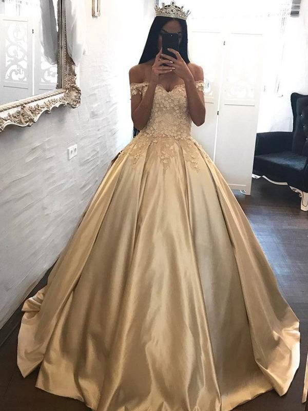 Ball Gown Prom Dresses Off-the-shoulder Appliques Satin Prom Dress ...