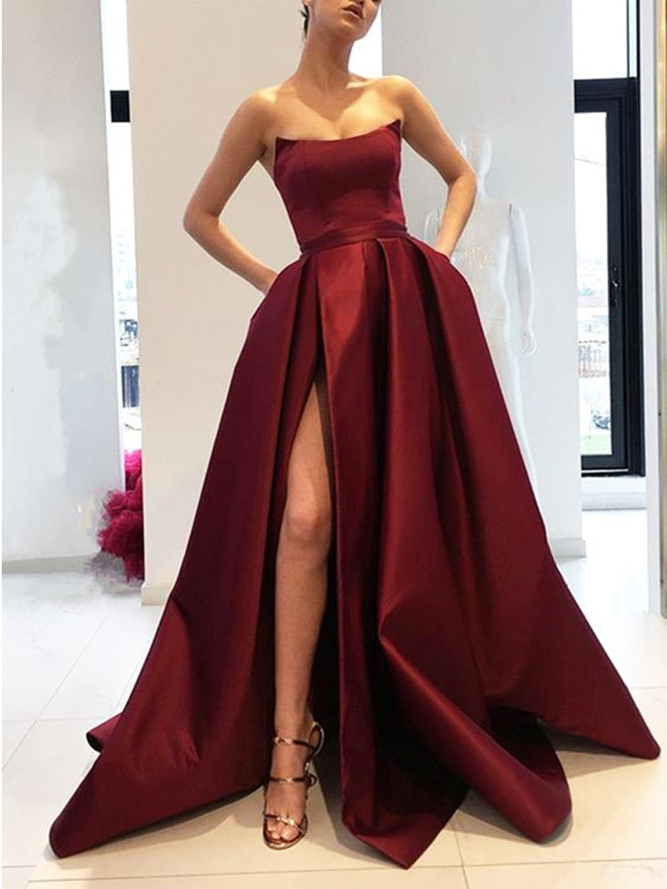 5c1a9bae61f1 Sexy A-Line Strapless Burgundy Satin Side Slit Long Prom Dresses with  Pockets,Simple