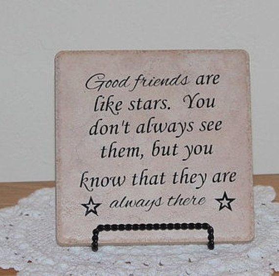 Good Friends Are Like Stars Tile Friendship Gift Inspirational Encouragement Decorative
