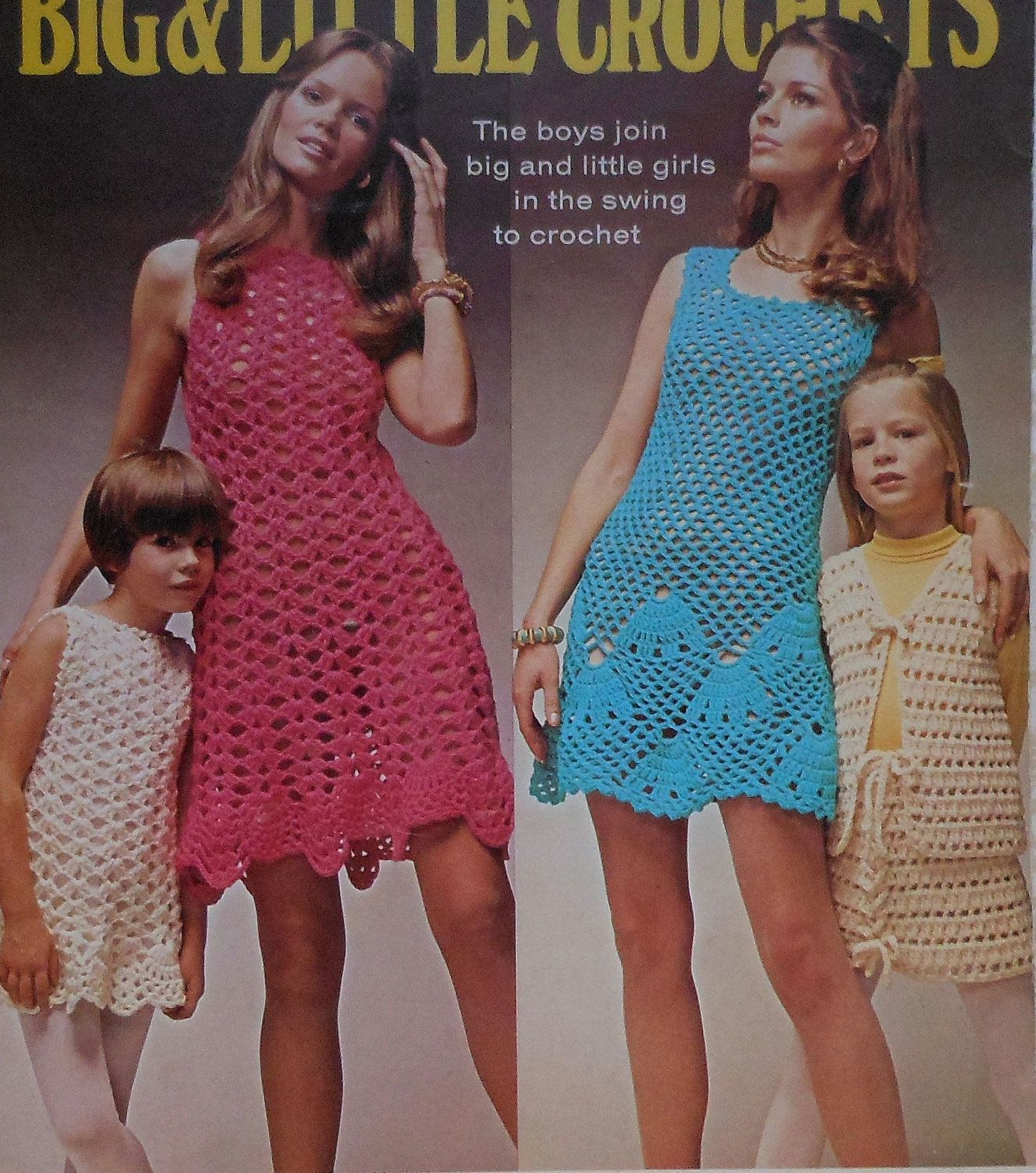 Vintage Women's and Children's Summer Dress Crochet Pattern Leaflet