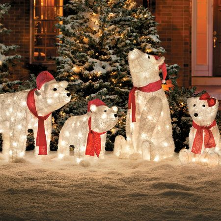 their frosty furry look makes these lighted outdoor polar bears especially appealing