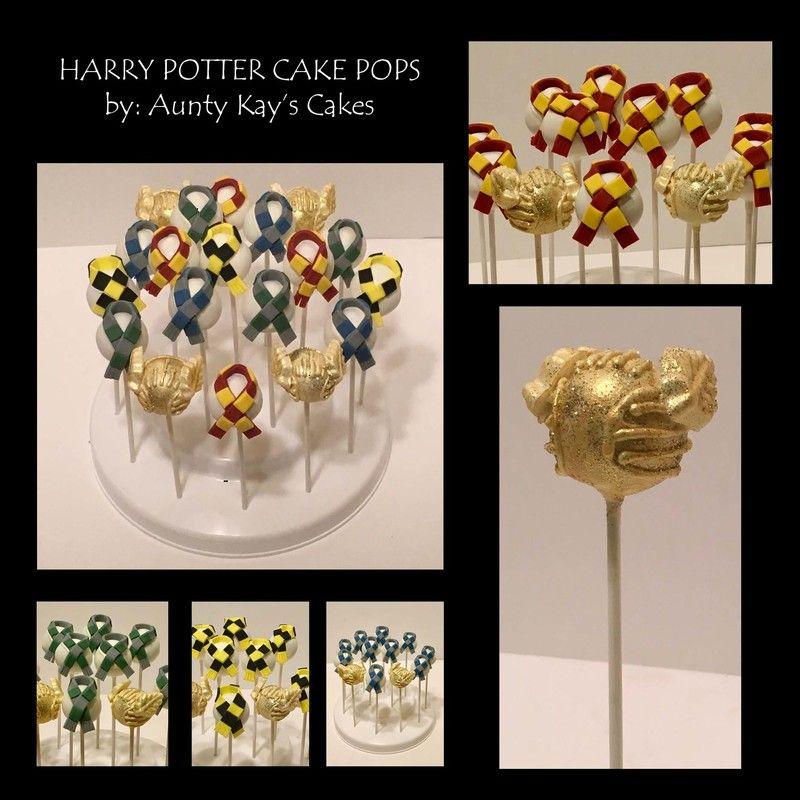 Harry Potter Cake Pops Gryffindor Hufflepuff Ravenclaw Slytherin Golden Snitch Www Auntykayscakes Com Wichita Ks Harry Potter Cake Cake Pops Potter