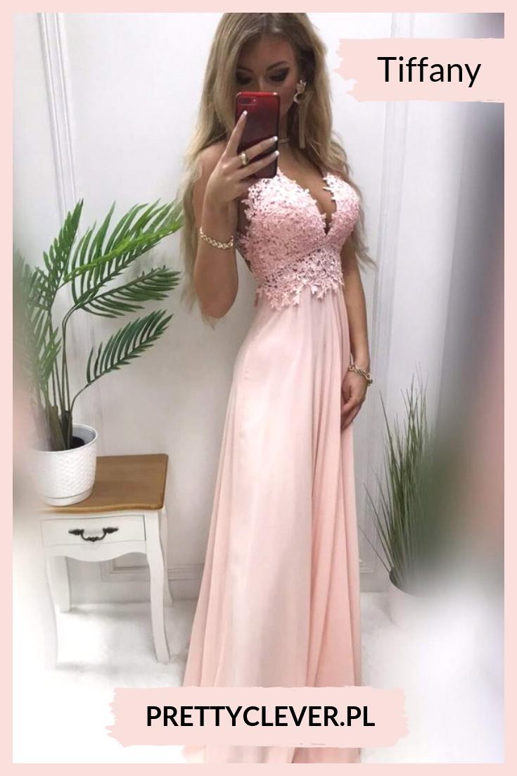 Dluga Sukienka Z Odkrytymi Plecami Pudrowy Roz Pretty Clever Dresses Fashion Formal Dresses