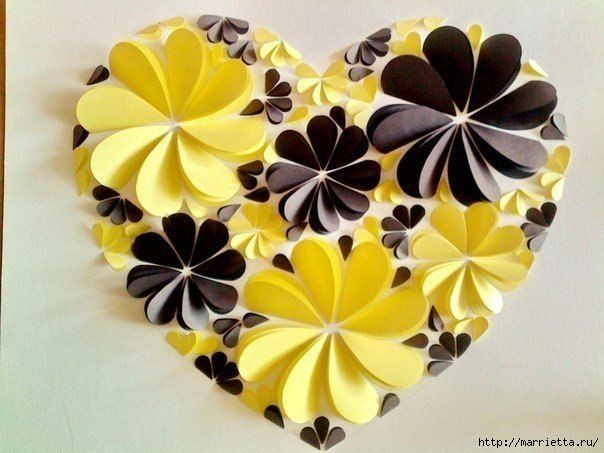 How To Make Easy Paper Heart Flower Wall Art Diy Tutorial Flores