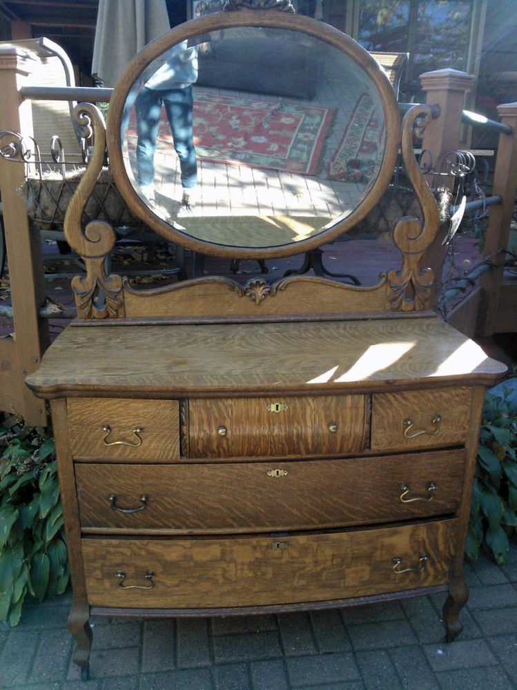 Delightful Antique Tiger Oak Quarter Sawn Carved Chest Dresser Round Beveled Mirror  Casters