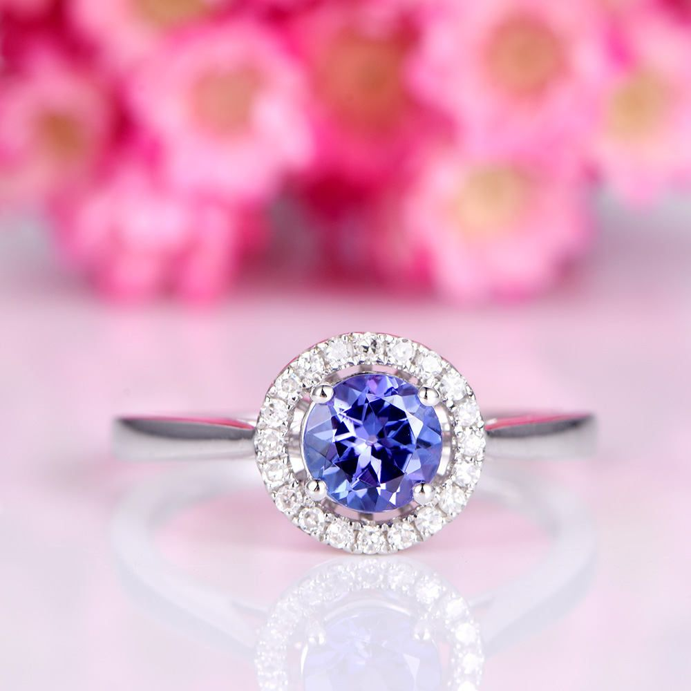 product vintage tanzanite and engagement image diamond real gold yellow ring