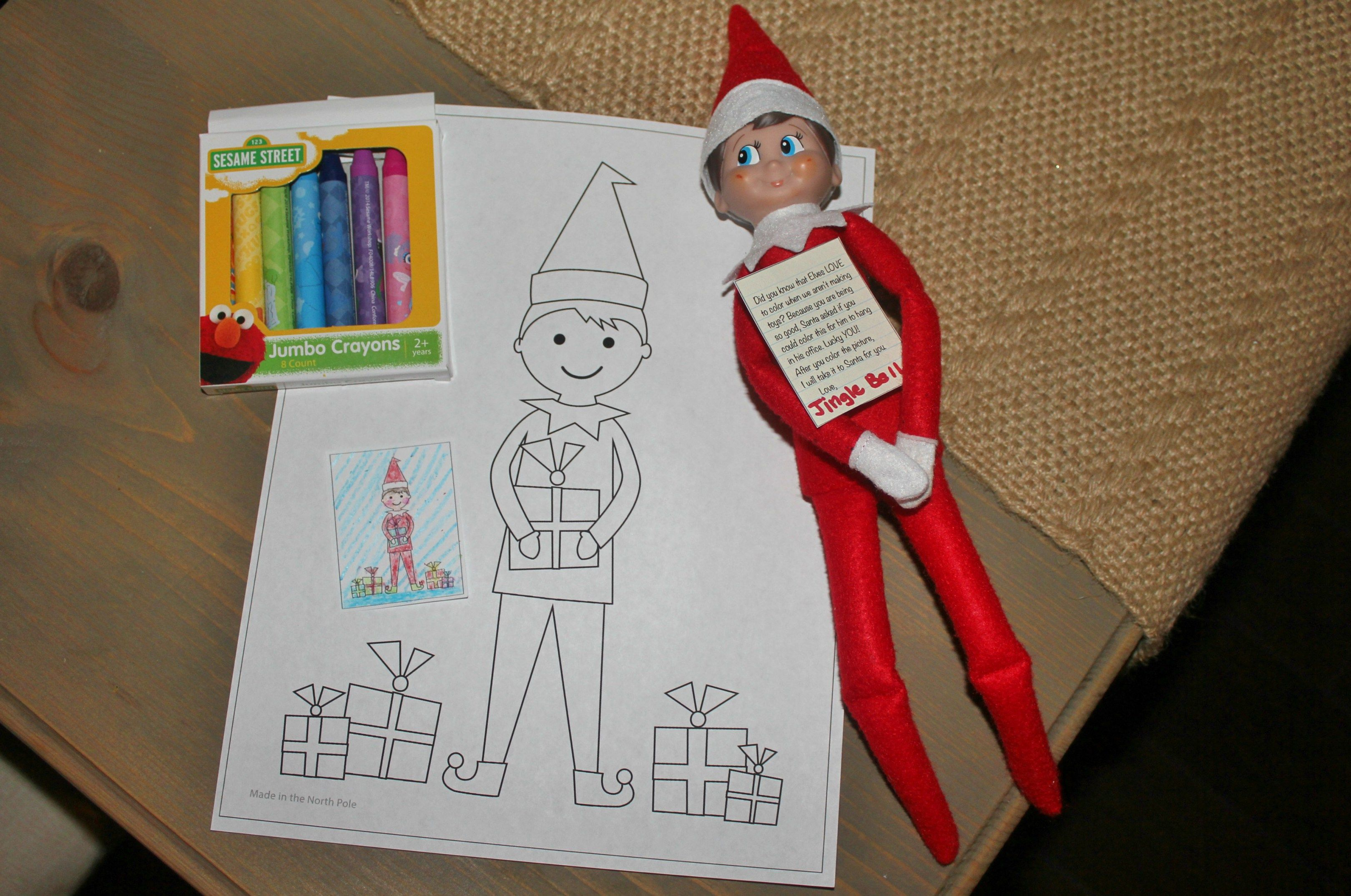elf on the shelf idea coloring page with link to printable   Elf on ...