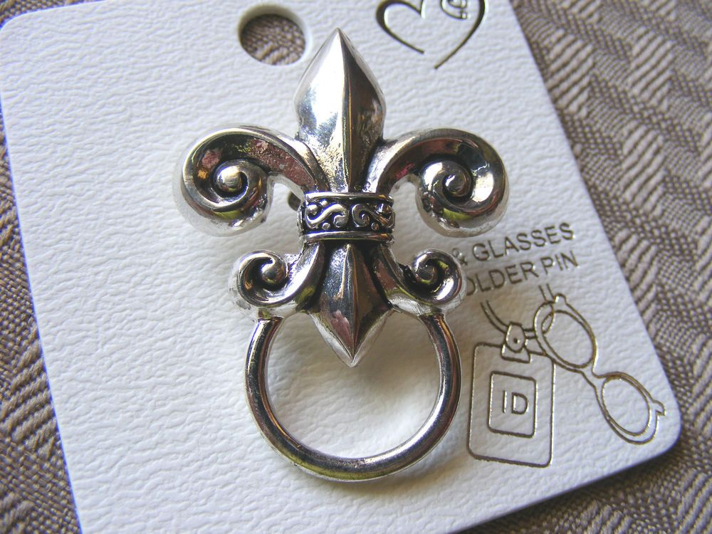 5cc88fb0315 Men Women Fleur de lis ID Badge Tag Key Pen Eyeglass Holder Pin Brooch BIN  1116  Codeena