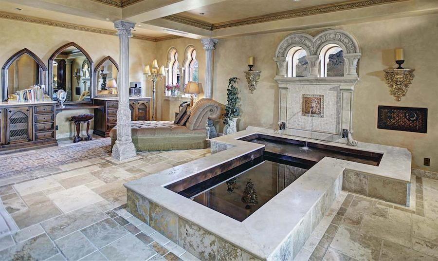 Tuscan style master bath bathroom spa with tub water for Roman bathroom design ideas