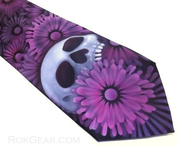 Floral skull mens necktie Black and pinks by RokGear, $40.00 Custom neckties by RokGear contact us for any questions RokGear@gmail.com