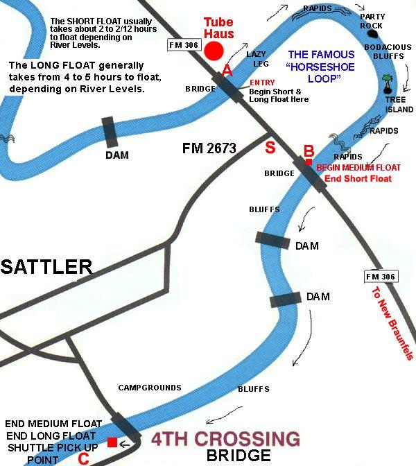 Guadalupe River Tubing Map Guadalupe River Tubing Float Map for Tube Haus, Short, Medium
