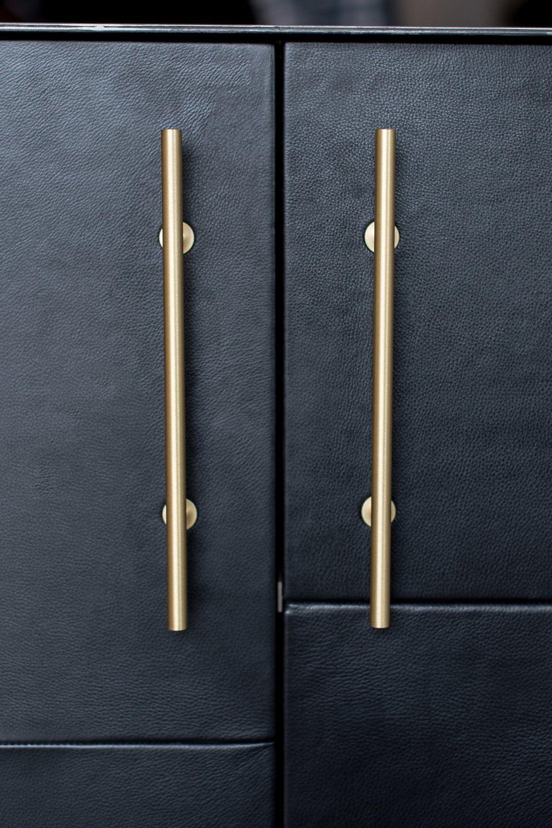 Bronson Credenza Blk Home Office Setup Brass Handles Steel