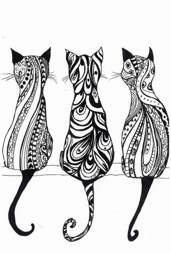 3 chats de dos plein de structures noires