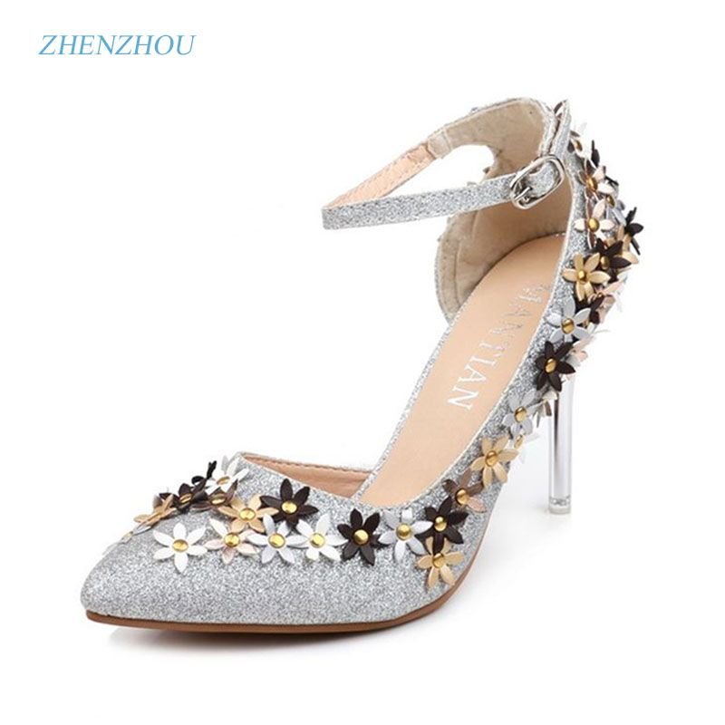 06f3d2b9a99964 Newspring summer 2017 the new point of fine with high heels diamond wedding  shoe female bride
