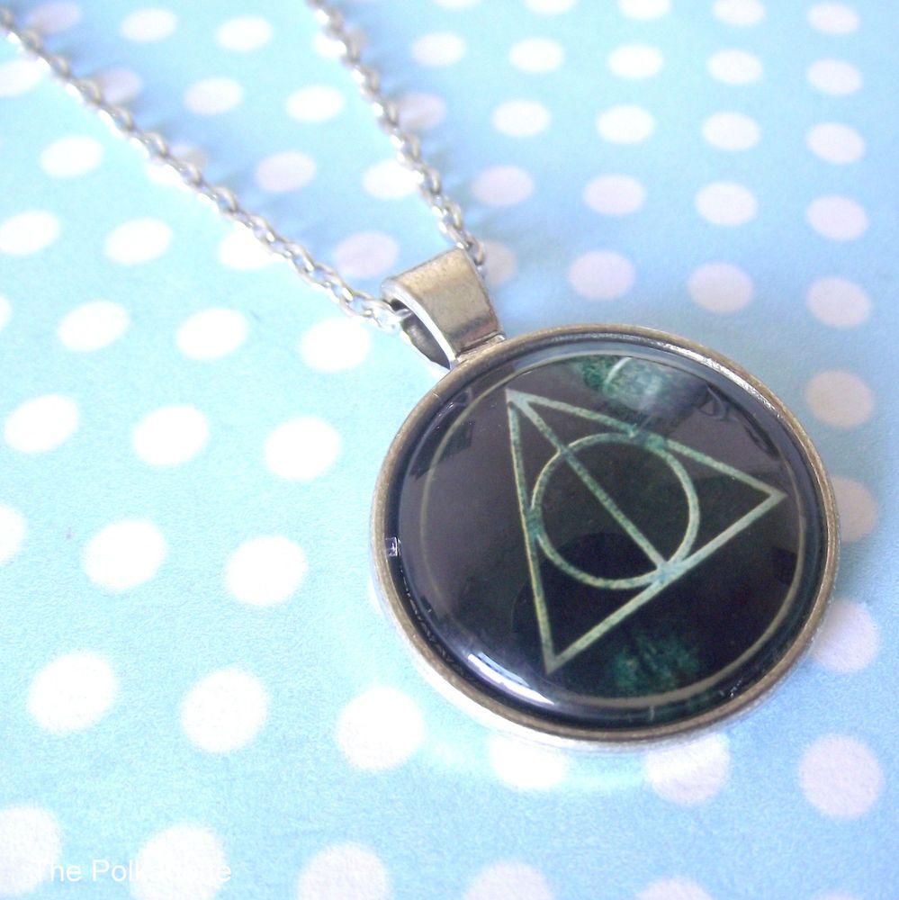 Deathly hallows symbol round cabochon necklace pendant hp